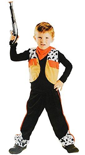 Unbekannt 3 TLG. Kostüm Cowboy - 6 bis 9 Jahre - Gr. 116 - 140 - Karneval / Western / Häftling - Hose + Weste + Halstuch - für Kinder Kind Kinderkostüm Fasching + Hallo..
