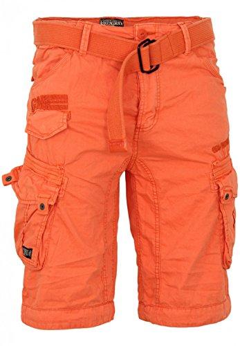geographical-norway-herren-baumwoll-cargo-shorts-parasol-stoff-gurtel-xl-orange