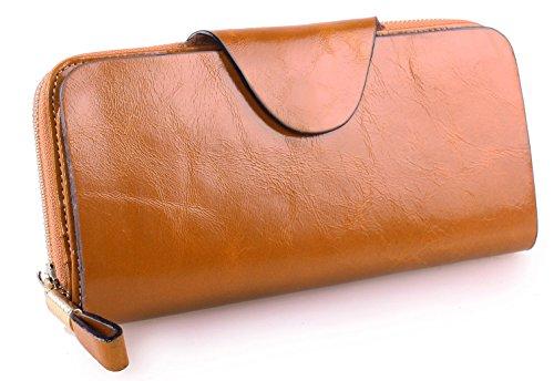 Greeniris donne di alta qualità titolare portafogli in pelle lungo del raccoglitore della carta della borsa della signora moderni cammello
