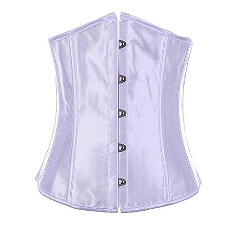 korsett Corsage Unterbust Vintage Taillen Korsagen Top Übergrößen (EUR(36-38)L,Weiß)
