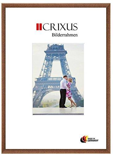 Crixus23 Echtholz Bilderrahmen für 14 x 11 cm Bilder, Farbe: Eiche Braun, Massivholz Rahmen in Maßanfertigung mit Acryl Kunstglas (Bruchsicher) und MDF Rückwand, Rahmen Breite: 23mm, Aussenmaß: 17,4 x 14,4 cm