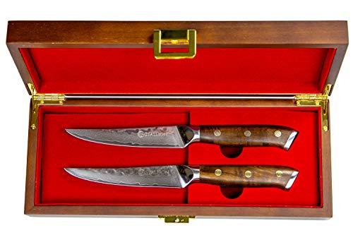 Stallion Damastmesser Ironwood Zwei Steakmesser - Damaststahl mit Griff aus Eisenholz in Edler...