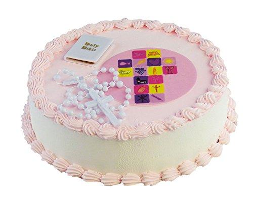 Cake Company Torten-Deko Kommunion Mädchen mit Bibel und Rosenkranz aus Kunststoff | Kuchen-Deko mit Fondant-Aufleger in 10 cm | Alternative zur traditionellen Kommunion-Figur | ideal für Motiv-Torte
