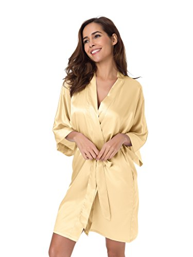 SIORO raso kimono accappatoio Pigiama Pyjamas Donna Vestaglia da Notte Kimono Sleepwear XS-XXL Champagne