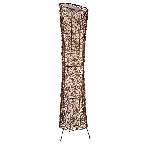 lifestyle4living Stehleuchte aus Rattan mit innenliegendem Stoffschirm, ohne Leuchtmittel, Maße: Höhe ca. 120 cm, Durchmesser ca. 25 cm