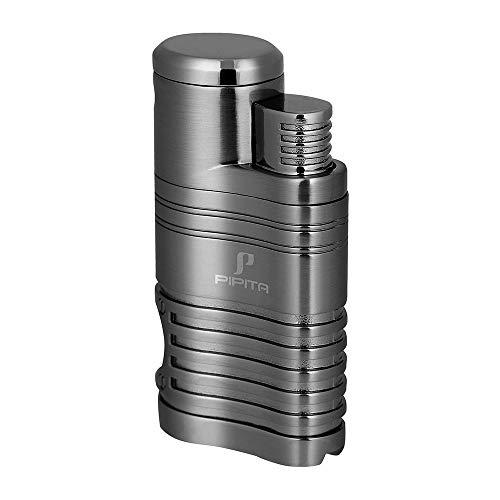 PIPITA Winddicht Zigarren Feuerzeuge Sturmfeuerzeug 4 Jet Rot Flammen Gas Nachfüllbar Metall Feuerzeug mit Bohrer Taschenlampe Feuerzeuges (Verkauft ohne Gas)