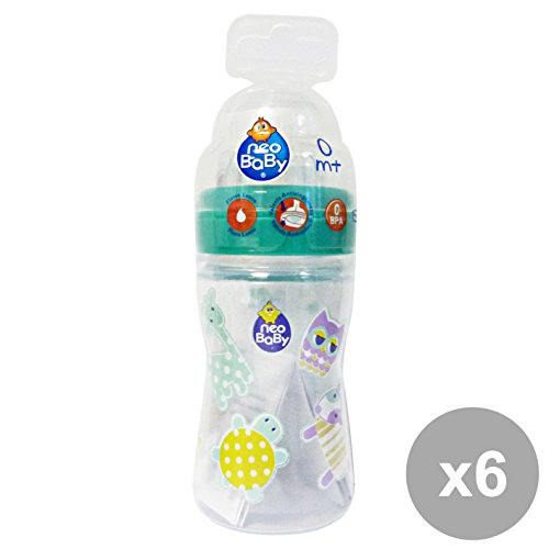 Set 6 NEO BABY Biberon Plastica 150 Ml. 0+ Mesi Linea Bimbo