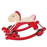 Kylinmmn Caballo Mecedora for niños, Juguete de Paseo en Madera for bebés y niños pequeños, Asiento Plano de Silla Mecedora de Motocicleta