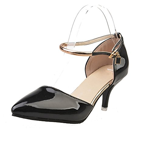 DIMAOL Scarpe Donna PU Primavera Cadono Comfort Tacchi Stiletto Heel Punta per Ufficio Outdoor & Carriera Arrossendo Rosa Nero Argento Nero