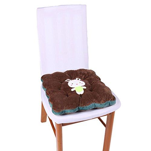 sourcingmap® Haushalt Polyester Kaninchen Muster Rückenschutz Stuhl Sitzkissen Kaffee Farbe