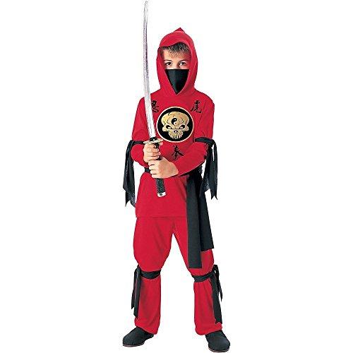 Ninja Kostüm Echte Kind - Tante Tina Ninja Kinderkostüm - Rot und Schwarz - M - Gr. 128 - 5-7 Jahre