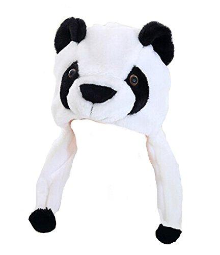 DELEY Unisex Frauen Mädchen Kinder Winter Warm Plüsch Tier Ohrenschützer Hüte Mützen Weihnachten Halloween Kostüm Geschenk Panda (Panda Kostüm Kind)