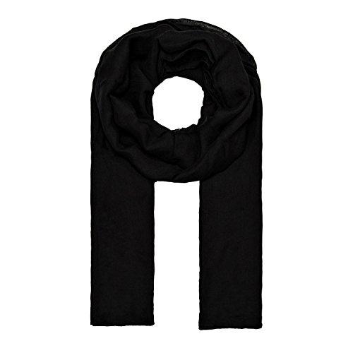 MANUMAR Schal für Damen einfarbig | Hals-Tuch in schwarz als perfektes Frühling Sommer Accessoire | Klassischer Damen-Schal | Stola | Mode-Schal | Geschenkidee für Frauen und Mädchen