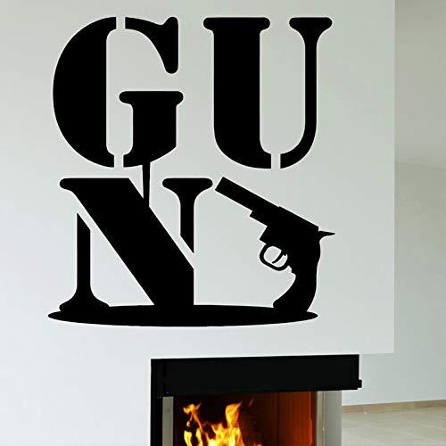 jiuyaomai Gun Mafia Army Military Weapon Entfernbare Wandaufkleber Für Wohnzimmer Hintergrund Tapete Decals Art Murals Poste schwarz 42X46 cm
