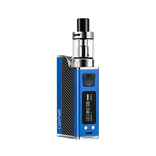 Conpush 80W cigarrillo electrónico E Cig Mod Kit de inicio, 1500mAh batería, Pantalla LCD de 0.91 pulgadas(azul, sin nicotina, pegatina...