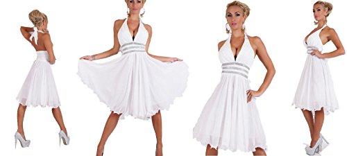IL BAZAR Damen Kleid weiß Bianco (Marilyn Weißes Kleid Monroe)