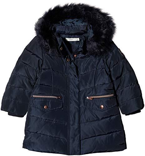 NAME IT Mädchen NMFMELA DOWN Jacket Camp Jacke, Blau Detail: with Sky Captain Color Fur, 116 (Kunstfell-jacke Baby-mädchen)