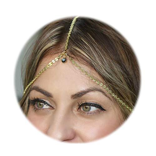 (SonMo Stirn Kette Stirnband Stirnband Vergoldet Haarkette Stirnkette Kopfschmuck Haar-Band Bohemian Fallen Gold Zirkonia Kopf-Kette für Frauen)