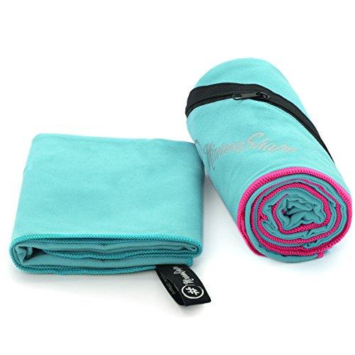 2er-Set Premium Mikrofaser Handtücher | 100x200 + 40x60 cm | saugfähig, leicht und schnelltrocknend | Sport- und Badehandtücher mit Ecktasche | Ideal für Fitness, Yoga, Sauna, Outdoor, Reise