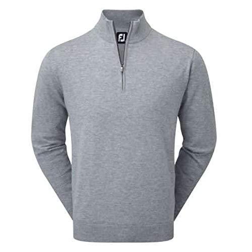 Golf Lambswool (Footjoy Lambswool 1/2Zip Lined Pullover Golf Pullover, Herren M grau)