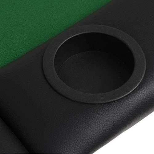 vidaXL Pokertisch 9-Spieler 3-Fach Klappbar Oval Grün Casino Poker Tisch - 7