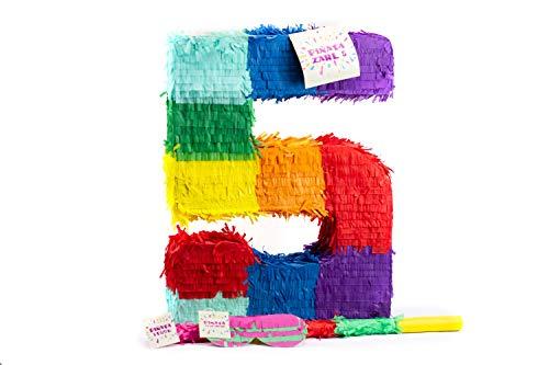 Mädchen Pinata Kostüm - Trendario Zahl 5 Pinata Set, Pinjatta + Stab + Augenmaske, Ideal zum Befüllen mit Süßigkeiten und Geschenken - Piñata für Kindergeburtstag Spiel, Geschenkidee, Party, Hochzeit