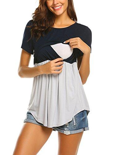 Maxmoda donna maglia per l'allattamento shirt maglia premaman maglieria per maternità casual top t shirt manica corta nb l