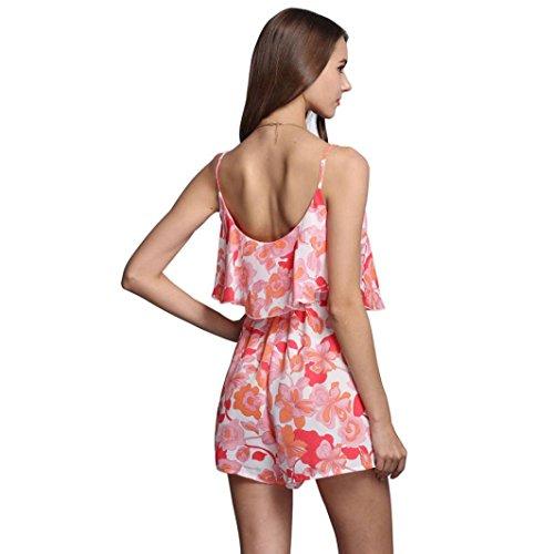 Bluestercool Femmes été Mousseline sans manches Floral Printed Jumpsuit Ladies Beach costume Rouge