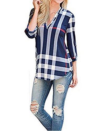 ASSKDAN Damen V-Ausschnitt 3/4 Ärmel Loose kariertes Hemd Bluse Langarmshirt Oberteil Top (M, Blau)
