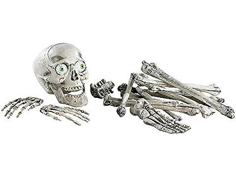 18 teiliges Grusel-Skelett Totenschädel + Knochen mit Sound