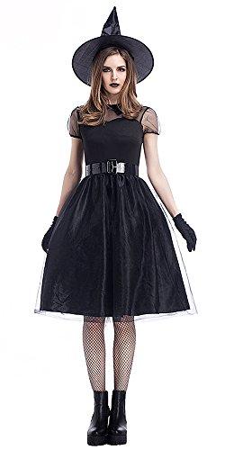 BOZEVON Hexen kostüm mit Hut Zauberin Feen Mittelalter Schwarze Kleid Damen Kostüm Halloween Karneval (Beliebte Halloween Kostüme Für Erwachsene)