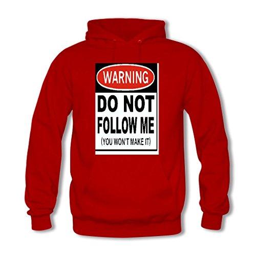 weileDIY Don't Follow Me, You Won't Make It DIY Custom Women's Printed Hoodie Sweatshirt Red_B