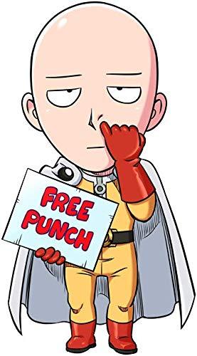 OKIWOKI T-Shirt Noir One-Punch Man parodique Saitama : Free Punch ! (Parodie One-Punch Man)