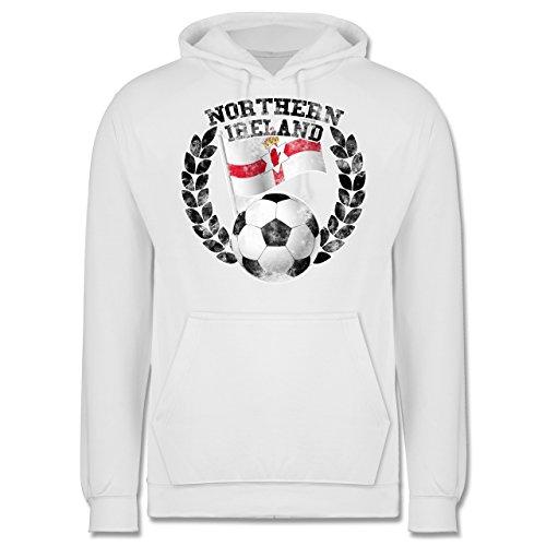 EM 2016 - Frankreich - Northern Ireland Flagge & Fußball Vintage - Männer Premium Kapuzenpullover / Hoodie Weiß