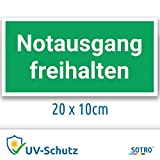 Notausgang freihalten Aufkleber Schild, 20x10cm mit UV-Schutz, Notausgangsschild, Fluchtweg/Rettungsweg Kennzeichnung Beschilderung
