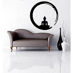 Vinilo Decorativo Buda Zen .(60x60cm aprox.) color negro.