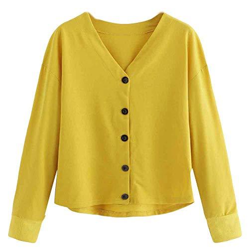 ESAILQ Fashion Women Button Casual Top T Shirt Long Sleeve Short Top Bloue Womens Clothes Sale Clothes Shops Womens Clothing Online Ladies Clothes Clothing Stores Clothes Jackets for Women
