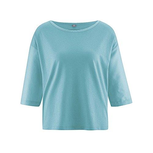 HempAge Damen Shirt Meril aus Hanf/Bio-Baumwolle/Seide Turquoise