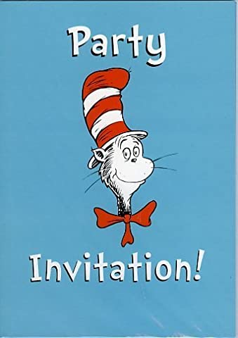 The Cat In The Hat Party Invitations – Pack of 8 Cards and Envelopes