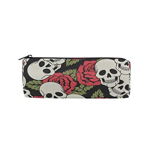 (bonipe Rose mit Totenkopf Bleistift Tasche Schule Stationery Pen Box Reißverschluss Kosmetik Make-up-Tasche)
