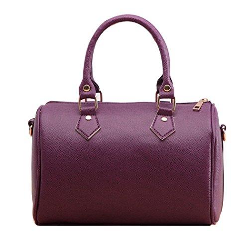 Tragetaschen - All4you Frauen PU Leder Handtasche leichte Tote Gelegenheitsarbeit Bag(Purple) (Schulter Unterschrift Drucken Tasche)