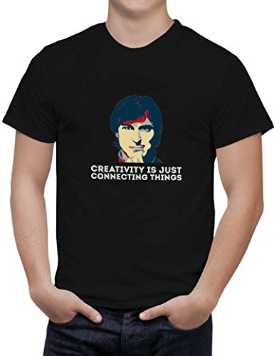 PosterGuy Men's Black Cotton T-Shirt | creativity is just connecting things Steve Jobs Designed by: Sawariya Creatives  available at amazon for Rs.699