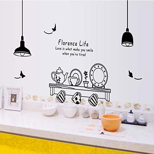 CDNY Florenz Leben entfernbare wandaufkleber küche Restaurant Tee Tasse Schrank Dekoration Aufkleber wandbild 115x140 cm Florenz-tee