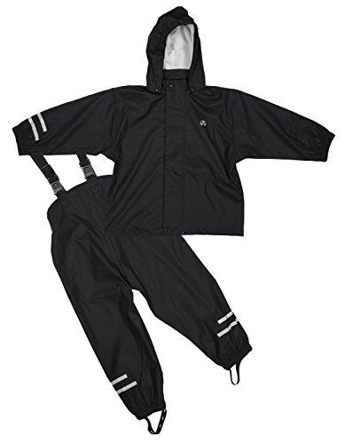 Jungen Gefütterte Jacke (Elka Regenanzug Regenhose + Regenjacke für Kinder, wasser- und winddicht, gestreift oder einfärbig, vielen Farben und Größen 220g/Polyester (98, Schwarz))