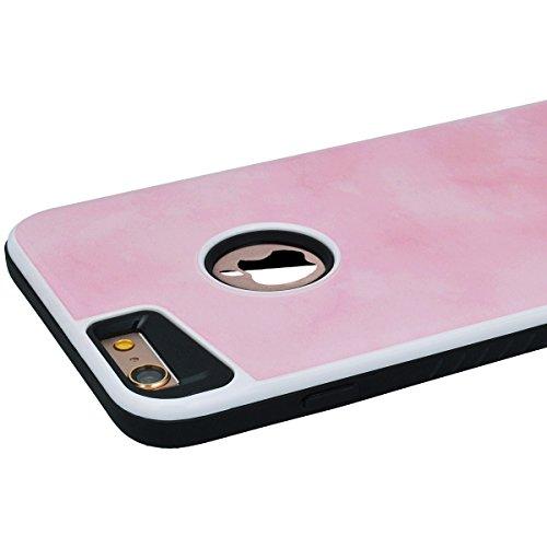 Yokata 2 in 1 iPhone 6 / iPhone 6s Hülle Weich Silikon Handyhülle Innere mit Hart PC Plastik Marmor 3D Schutz Backcover Armor Schutzhülle Schale Etui Ultra Dünn Slim 2 Layer Case Silicone Bumper Prote Pink