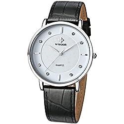 Herren Luxus Marke Fashion Business Quarzuhr Herren Armbanduhr Ultradünn ECHT LEDER WEIß