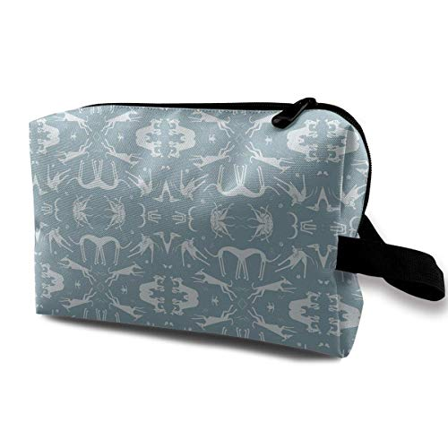 Whippet Greyhound Blue Portable Travel Makeup Cosmetic Bags Organizer Multifunction Case Toiletry Bags -