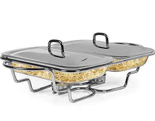 Galashield Chafing Dish Food Warmer Edelstahl mit 2 Glasschalen Buffet Server Warmhalteplatte mit Schöpflöffel (1,5 l pro Tablet)