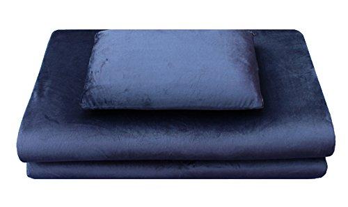 Luxus-Reiseset (Reisekissen, Reisebettmatratze) aus Visco-elastischem  Airschaum (Memory-Foam), 2-teilig in blau, leichte mobile Matratzenauflage und Kopfkissen, ideal für Reisen, Camping, Wohnwagen
