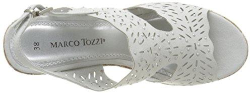 Marco Tozzi 28364, Sandales Bout Ouvert Femme Gris (Quartz 201)